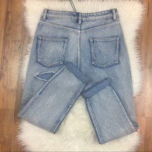 BooHoo Destroyed Acid Wash High Rise Mom Jeans